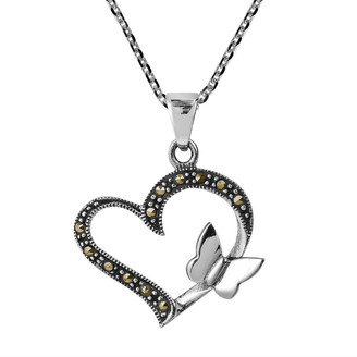 Aeravida Handmade Butterfly Kiss Open Heart Marcasite .925 Silver Necklace