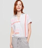 Lou & Grey Mixstripe Short Sleeve Pop On Shirt