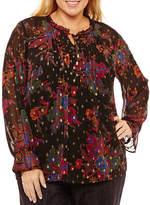 Liz Claiborne Long Sleeve Ruffle Tie Neck Floral Blouse- Plus