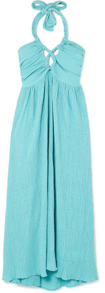 Mara Hoffman Annika Cutout Cotton-seersucker Halterneck Dress - Turquoise