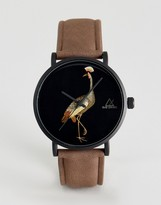Asos Watch With Tan Faux Leather Strap And Bird Design