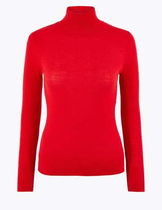 AutographMarks and Spencer Merino Ribbed Roll Neck Slim Fit Jumper