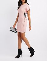 Charlotte Russe Lace-Up Sides T-Shirt Dress
