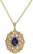 Effy Royale Bleu by Diffused Sapphire (9/10 ct. t.w.) and Diamond (1/6 ct. t.w.) Pendant Necklace in 14k Gold