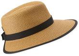 Eric Javits Sun Crest Woven Sun Hat, Natural/Black