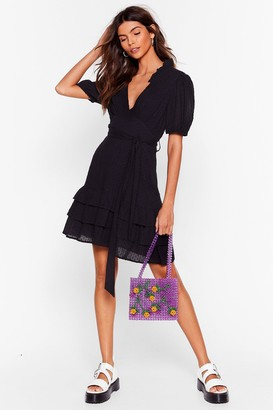 Nasty Gal Womens Tier for You Ruffle Belted Mini Dress - Black - XS