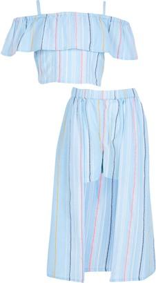 River Island Girls Blue stripe print skirt outfit