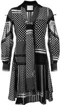 Sacai scarf print tie neck dress