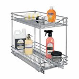 Lynk Professional Roll Out Double Shelf - Pull Out Two Tier Sliding Under Cabinet Organizer - 11 inch wide x 18 inch deep