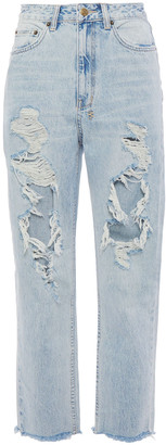 Ksubi Cropped Distressed High-rise Straight-leg Jeans
