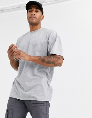 ASOS DESIGN oversized longline t-shirt with crew neck in grey marl