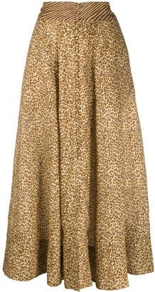Zimmermann Animal-Print Pleated Skirt