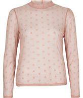 River Island Womens Light pink love heart mesh top