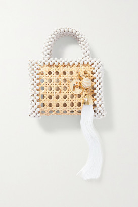 Rosantica Alida Mini Tasseled Beaded Wicker Tote - White