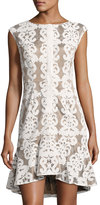 Alberto Makali Burn-Out Lace Flounce Dress