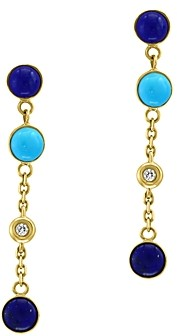 Bloomingdale's Lapis Lazuli, Turquoise & Diamond Accent Earrings in 14K Yellow Gold - 100% Exclusive
