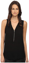 The Kooples Tank Top with A Zip Neckline in Silk and Jersey