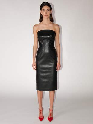 Ermanno Scervino Strapless Leather Midi Dress