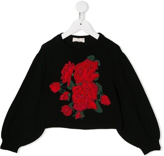 MonnaLisa Cropped Rose Motif Sweater