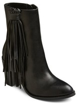 Mossimo Women's Nola Leather Fringe Booties Black