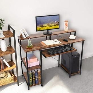 Inbox Zero Laptop Office Desk with Hutch