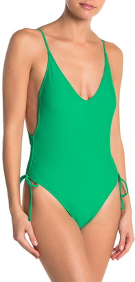 KENDALL + KYLIE Ruche Tie One-Piece Swimsuit