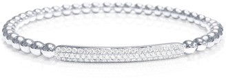 Diamond Bar Bracelet Stretch Bead Bangle 18K White Gold 1/2 CT TDW by Joelle Collection