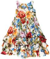 Dolce & Gabbana Floral Print Ruffled Cotton Poplin Dress