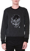 Alexander McQueen Contrast-Stitch & Skull Crewneck Sweater, Black/White