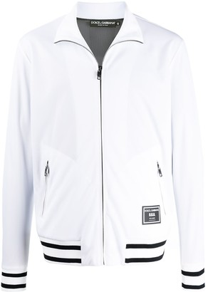 Dolce & Gabbana Full-Zip Logo Patch Sweatshirt