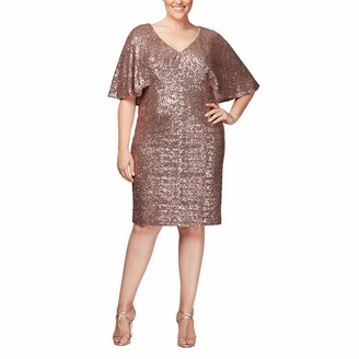 Alex Evenings Women's Plus Size Short Sequin Dress