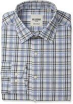 Ben Sherman Men's Slim Fit Check Line Spread Collar Dress Shirt