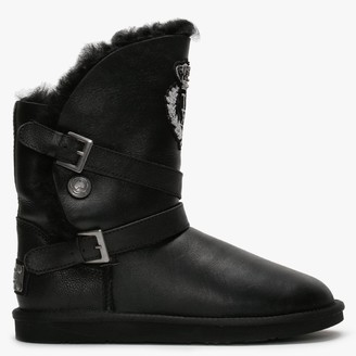 Australia Luxe Collective Pioneer Black Nappa Double-Face Sheepskin Ankle Boots