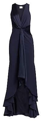 Cinq à Sept Women's Iris Plunging Twist High-Low Gown