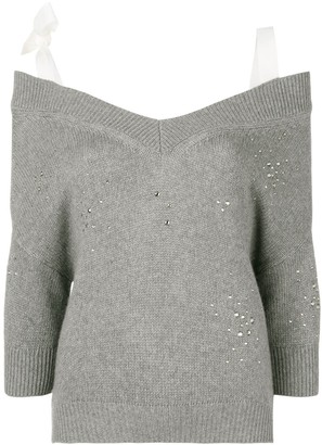 RED Valentino Off-The-Shoulder Studded Jumper