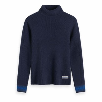 Scotch & Soda Men's Chic Wool-Blend Turtleneck Pull in Rib Knit Vest
