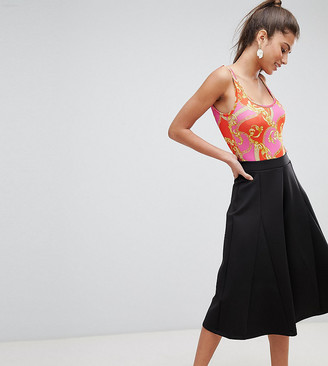 ASOS DESIGN Petite cropped wide leg trousers with flowing hem