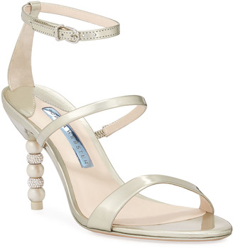 Sophia Webster Rosalind Bridal Mid-Heel Crystal Pearly Sandals