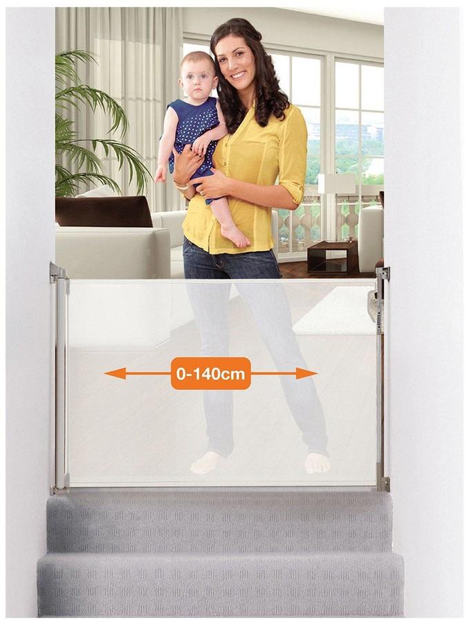 Dream Baby Dreambaby Retractable Relocatable Gate (Fits Gaps 0-140Cm) - White/Mesh