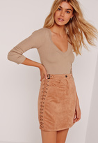 Missguided Plunge Bodysuit Camel