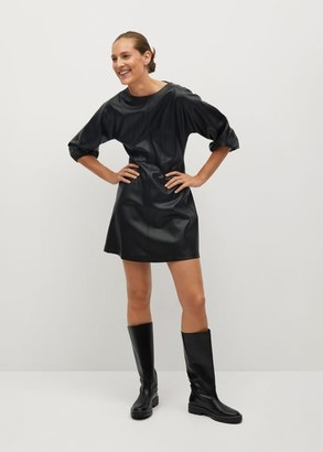 MANGO Faux-leather dress