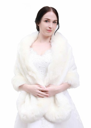 Anglacesmade Bridal Faux Fur Wrap Wedding Fur Stole with Brooch Evening Party Warm Shrug Cape White