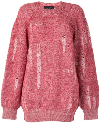 Y's Distressed Knitted Jumper