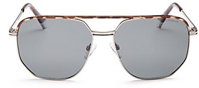 Polaroid Men's Brow Bar Aviator Sunglasses, 58mm