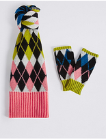 M&S Collection Argyle Print Scarf & Gloves Set