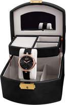 Burgi Womens Diamond Accent Rose-Tone & Black Strap Watch and Jewelry Box Set