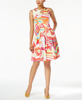 Nine West Printed Keyhole Fit & Flare Dress