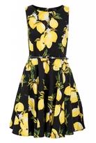 Quiz Black Floral and Lemon Print Skater Dress