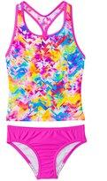 Speedo Girls' Tie Dye Splash Keyhole Tankini Two Piece Swimsuit (7yrs16yrs) - 8137124
