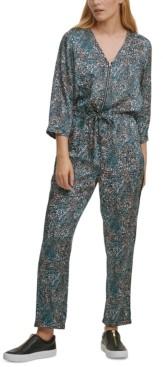 DKNY Printed Drawstring-Waist Jumpsuit